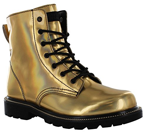 GOTTA FLURT Luna Combat Boots for Women - Gold & Black Metallic Boot - 9.5