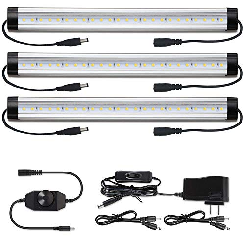 Under Cabinet LED Lighting Kit Plug in - Albrillo Dimmable Counter Light Strips, 900 Lumen Bright Kitchen Closet Shelf Lights, Daylight White 5000K