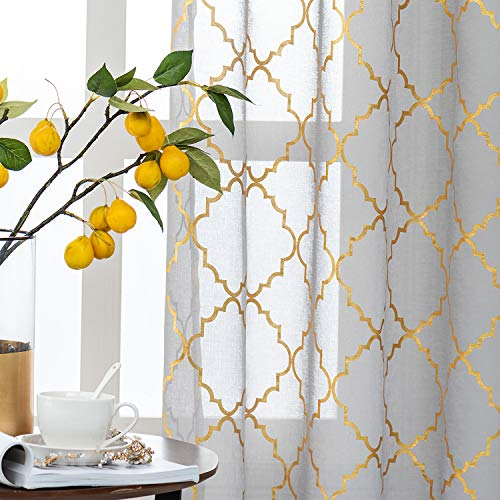 Kotile Moroccan Sheer Curtains 84 Inch Long - Metallic Gold Foil Geometric Lattice Design Rod Pocket Grey Sheer Curtains for Living Room, 52 x 84 Inch, 2 Panels, Gold and Gray