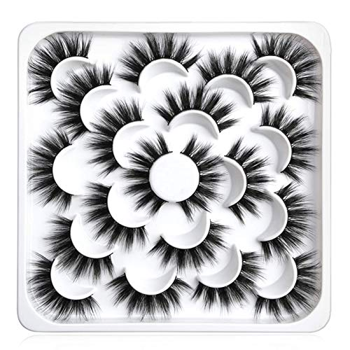 Pestañas Postizas 10 pares de Pelo Artificial 3D Mixtas Multipack, Tiras Completas, Natural Pestañas Falsa Largas Adecuado para Trabajar Citas Fiesta (5D-O7)