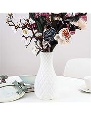 123 Life Jarrón de plástico para flores, duradero y moderno, decorativo para salón, oficina, boda, decoración (blanco)