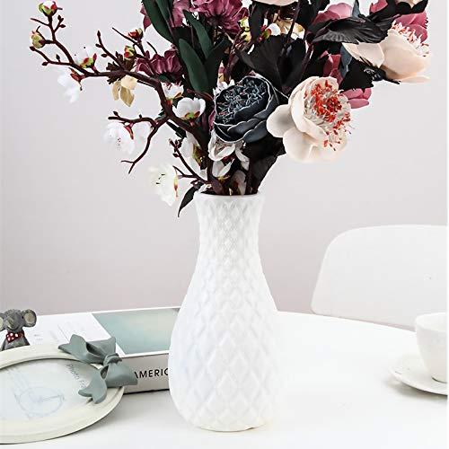 123 Life Jarrones de plástico para flores, florero decorativo moderno duradero para sala de estar, oficina, decoración de boda (blanco)