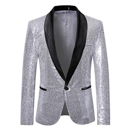 Homebaby Uomo Blazer Classic Brillantini con Paillettes Glitterati Giacca da Abito Elegante Fiesta Maniche Lunghe Colletto Cappotto Fashion Formale Casual Lavoro Pulsante Completo