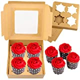 Kraft Paper Cupcake Boxes - 15 Pack Bakery Cake Gift Packaging Box Cupcake Carrier with Clear...