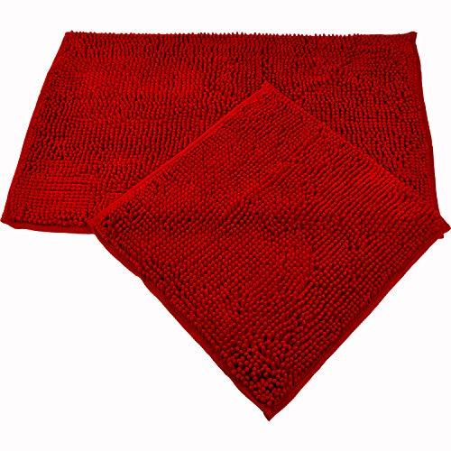 WohnDirect Badematten Set • WC Vorleger (45x45cm), Badematte (50x80cm) • rutschfest waschbar Badezimmerteppich OHNE WC-Ausschnitt - Rot
