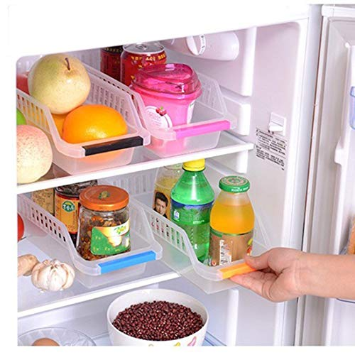 JD Brand Plastic Fridge Space Saver Food Storage Organizer Basket Rack, Multi-Color (Pack of 4, Made in India)