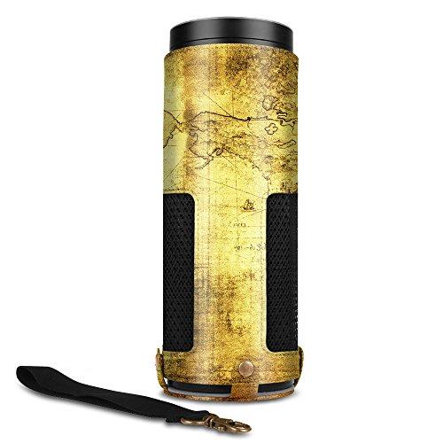 Fintie Hülle kompatibel mit Amazon Echo - Premium Kunstleder Schutzhülle Case Tasche mit Abnehmbarem Band für Amazon Echo, Weltkarte