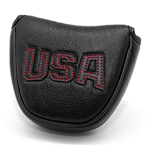 barudan golf Black Leather USA Mallet Putter Cover Covers Headcover Magnetic Club Head Covers Headcovers Protective for Scotty Cameron Odyssey Stroke Lab Two Ball 2ball 2 Ball Well Made