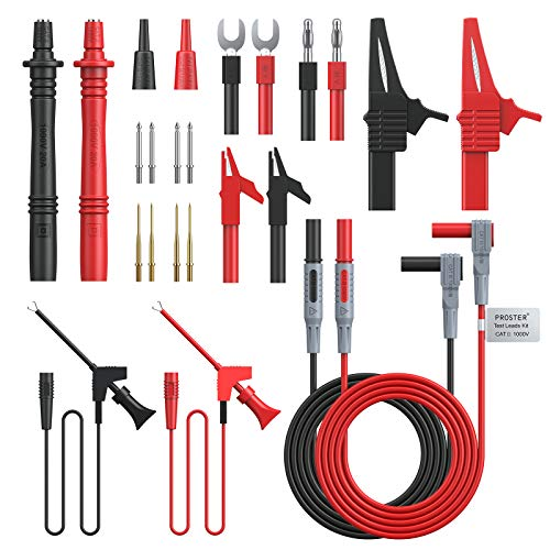 Proster 24pcs Multimeter Test Lead Kit Electrical Multitester Leads Automotive Multimeter Probe Alligator Clips Replaceable Volt Clamp Meter Leads Electronic Test Leads
