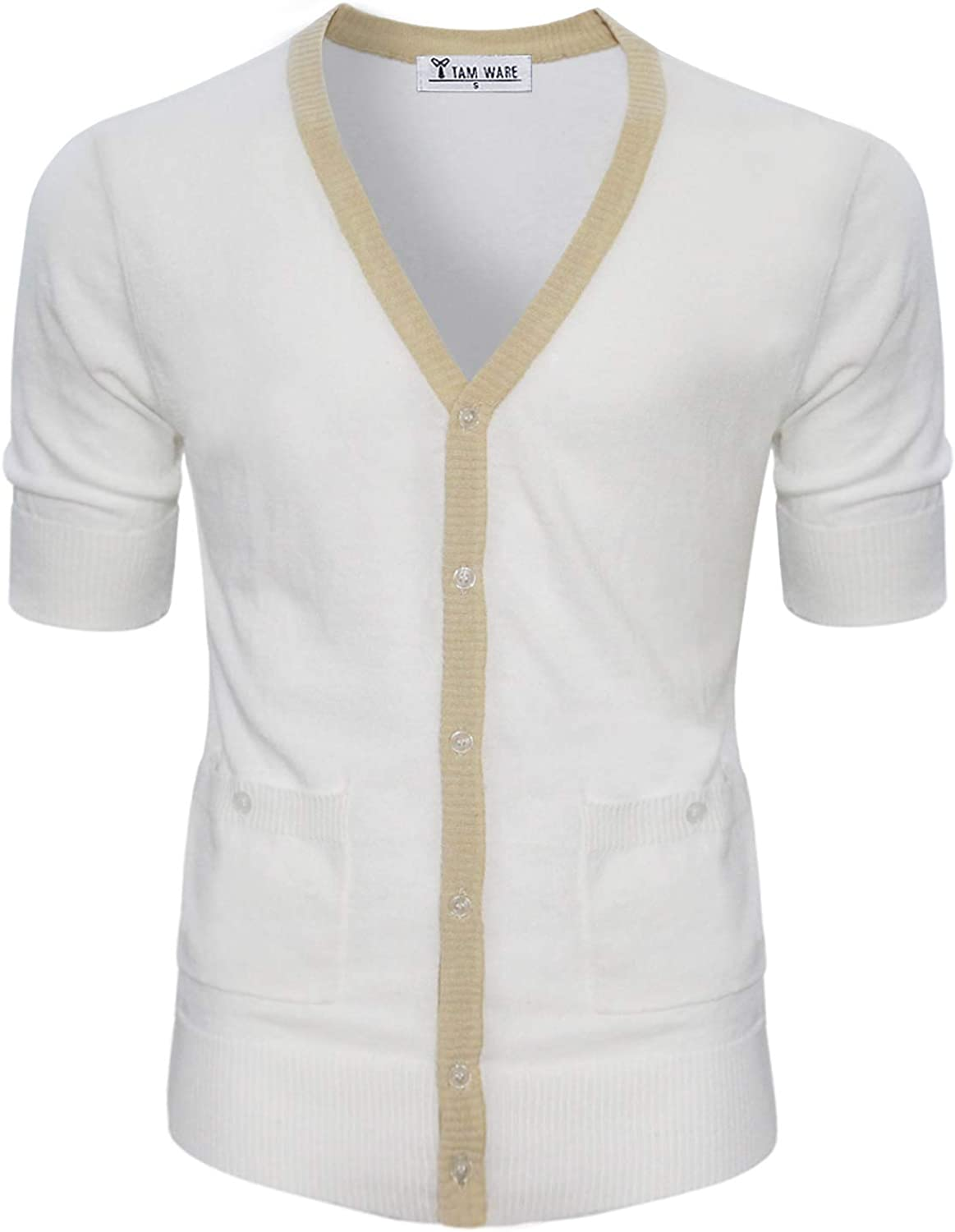 TAM WARE Mens Classic Slim Fit Ribbed Six Buttoned Cardigan