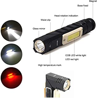 Flashlight, Tiamxinco 90 Degree Mini Work Light&Waterproof Led Flashlight 5 Modes, Best High Lumens Magnetic Base Handheld Flashlights are for Inspection, Camping, Outdoor, Hiking