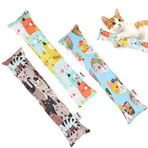 BINGPET Catnip Toys for Indoor Cats - 3 Pack Interactive Cat Kicker Toys with Cute Patterns, Natural Catnip Filled Inside, Durable Kick Sticks for Cats