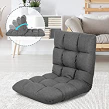 Scurrty Adjustable Floor Chair Clearance Folding Sofa Lounge Chair for Adults and Kids Video Game Chairs Lazy Boy Recliner Reading Chair Couch Gaming Floor Sofa Chair for Living Room, Bedroom (Grey)