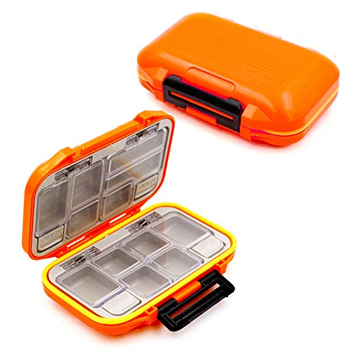 YUKI Fishing Lure Boxes, Bait Storage Case Fishing Tackle Storage Trays Accessory Boxes Thicker Plastic Hooks Organizer Containers for Vest Casting Fly Fishing - Waterproof Seal (Orange, Small)