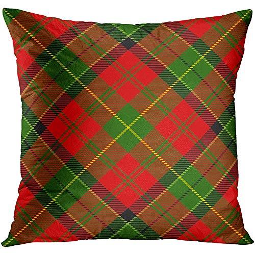 Kussenslopen, motief Schotse ruiten, Kerstmis, groen, motief rode kerstcontrole, kussenhoes, voor slapen in het vliegtuig
