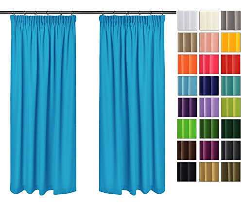 Rollmayer Vorhänge mit Bleistift Kollektion Vivid (Blau 41, 135x150 cm - BxH) Blickdicht Uni einfarbig Gardinen Schal für Schlafzimmer Kinderzimmer Wohnzimmer