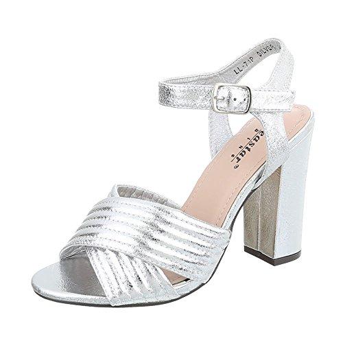 Ital-Design High Heel Sandaletten Damen-Schuhe High Heel Sandaletten Pump High Heels Schnalle Sandalen & Sandaletten Silber, Gr 37, Ll-71P-