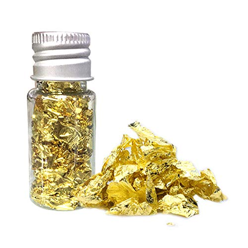 Edible Genuine Gold Leaf Flakes, 24K Gold Flakes Decorative Dishes,Genuine Gold Leaf for Cooking, Cakes & Chocolates, Decoration, Health & Spa