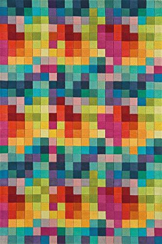 Tapis Moderne en Laine Festival Multicolore 200x300cm - 100% Pure Laine Vierge en Couleurs Vives