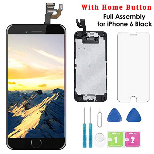 Screen Replacement for iPhone 6 Black 4.7 Inch LCD Display Full Assembly Touch Digitizer A1586 A1549 A1589 with Home Button, Front Camera, Proximity Sensor, Earpiece and Screen Protector