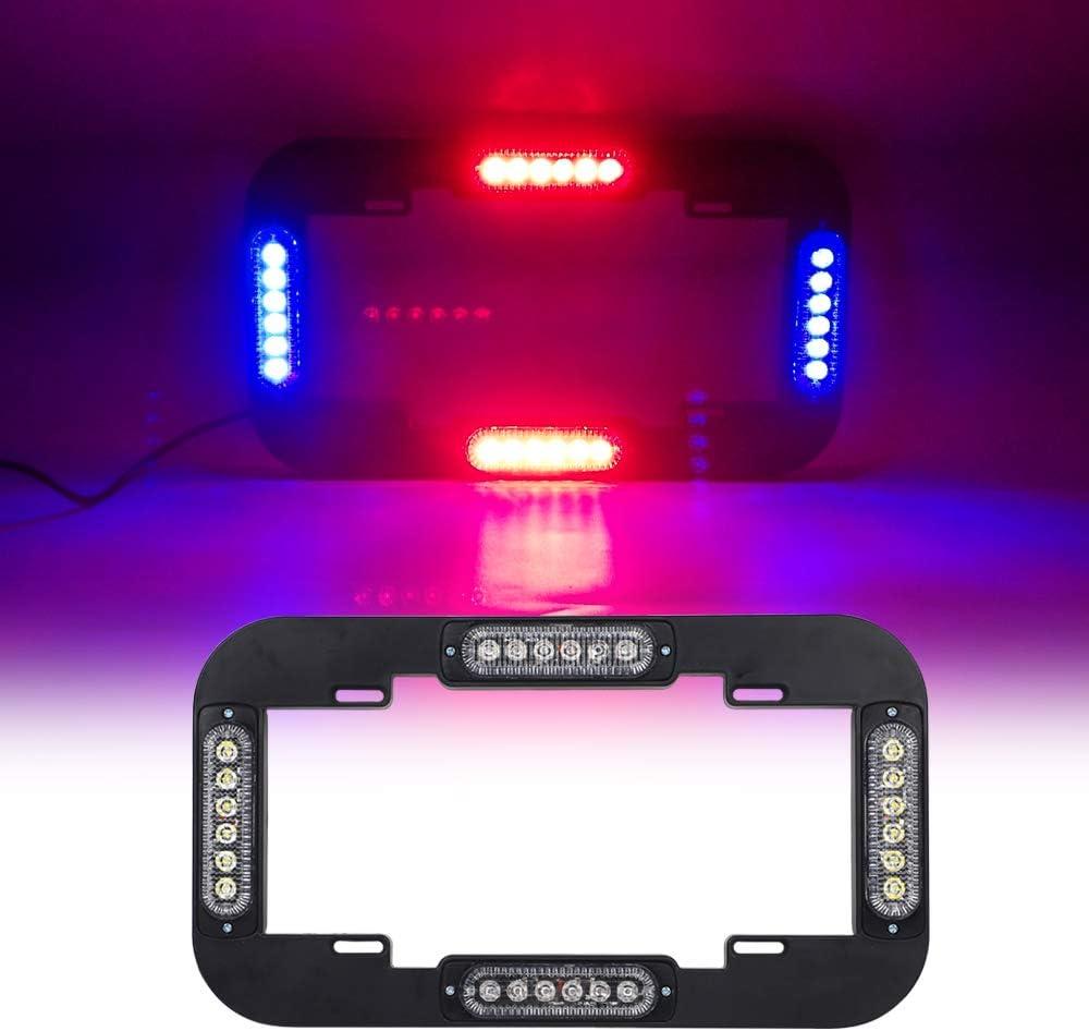 """Emergency Lights for Vehicles LED Red Blue Police Lights for Car, 18 Flash Modes 13.5"""" Strobe Warning Hazard License Plate Lights with Black Frames"""