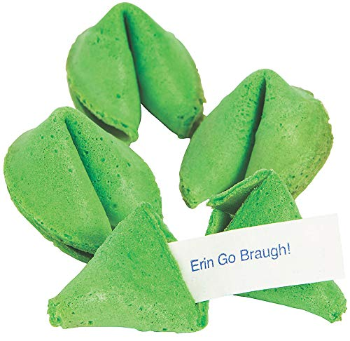 St. Patrick's Day Fortune Cookies (50 Individually Wrapped) Green With Irish Themed Sayings Party Favors and Candy by 4E's Novelty