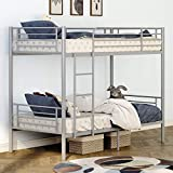 mecor Twin Over Twin Metal Bunk Bed / Sturdy Frame with Metal Slats / Safety Guard Rail & Removable Ladder / for Kids, Teens, Adults - Silver Grey