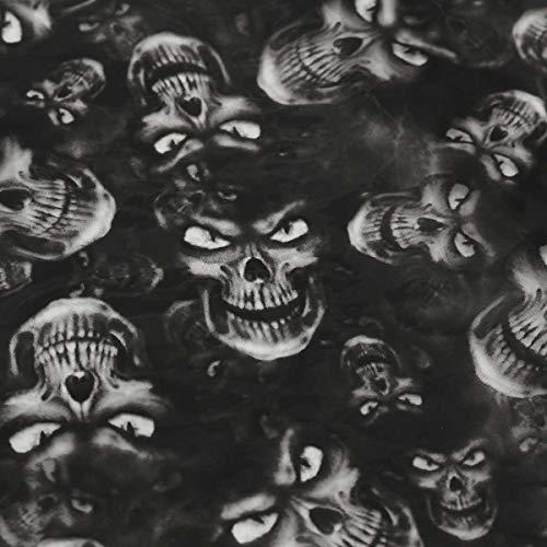 L.J.JZDY Wassertransferfolie 50 x 150 cm PVA Hydrographischer Film Wassertransferdruck Film Hydro Dip Style Decals Sticker Black Skulls