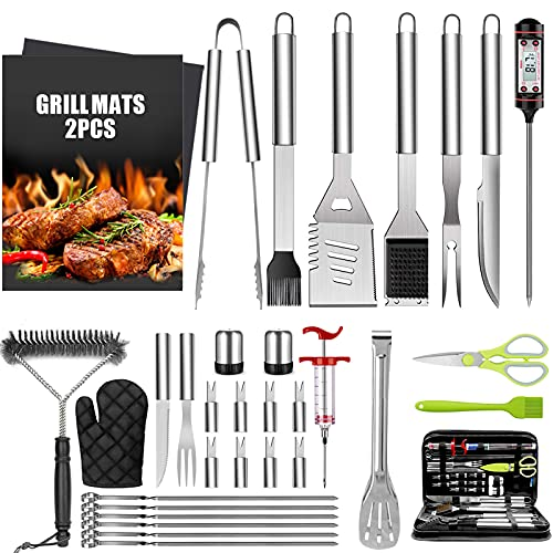 Taimasi 34Pcs BBQ Grill Accessories Tools Set, Stainless Steel Grilling Tools with Carry Bag, Thermometer, Grill Mats for Camping/Backyard Barbecue, Grill Tools Set for Men Women