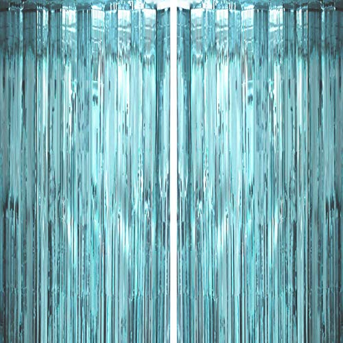 Tinsel Foil Fringe Curtains Color: Blue Blue Ocean Theme Party Foil Curtains Decoration Measures 3.2ft x 6.5ft , 2 pieces in total Blue Foil Fringe Curtains are perfect decorations for Birthday, Wedding Engagement, Bridal Shower, Baby Shower, Summer ...