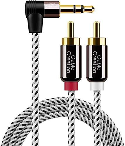 CableCreation Cinch Kabel, Winkel 3,5mm-Klinke auf 2 x Cinch-Stecker, RCA auf Klinke Stereo-Y-Splitter-Kabel für Smartphones, MP3, Tablets, Stereoempfänger, Auto, Lautsprecher, HDTV usw. 10FT/ 3M