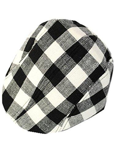 YICHUN Enfant Garçon Fille Chapeau Carreau Béret Casquette Classique Chapeau de Base-Ball Bonnet (Blanc Noir Gris 7#)