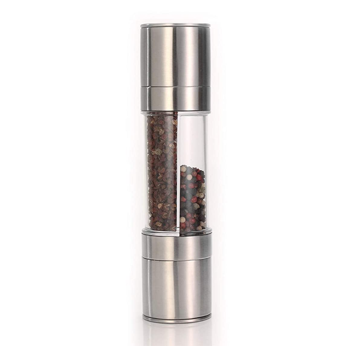 IMIKE 2 in 1 Premium Stainless Steel Pepper Grinder and Salt Grinder, Adjustable Coarseness Pepper Mill Shaker Spice Grinder
