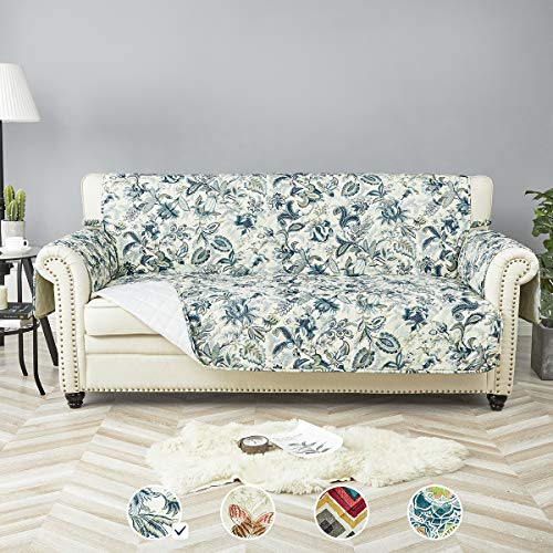 "STONECREST Sofa Cover, Water Resistant Print Sofa Slipcover, Washable Furniture Protector for Pets, Seat Width Up to 68 Inches with Straps(Elegant Blues, Sofa 68"")"