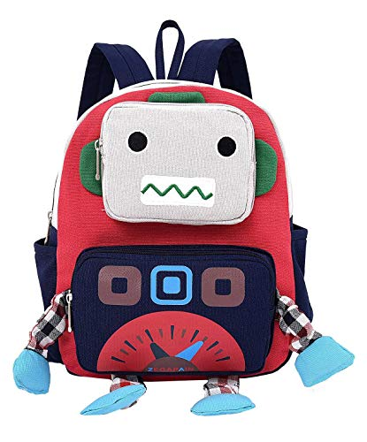 Panegy - Bolsa de Robot de Cartoon en 3D para Niñas Niños Pequeños Mochilas Infantil Multifuncional para Jardín de Infancia Viajes Mochila Linda con Sacos Múltiples Lienzo Azul Oscuro