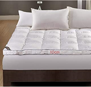 MATTRESS Thick Cotton Topper 10cm and 12cm White Goose Feather Down Extra Long Double Bed/Single Bed for Four Seasons, White-standard10cm-90X200cm