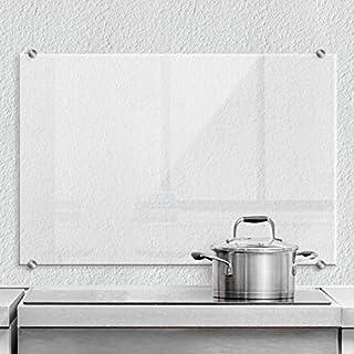 Pfannen Spritzschutz transparent Glasplatte Küche Küchenrückwand Sicherheitsglas mit Klemmbefestigung Edelstahl 60x40 cm