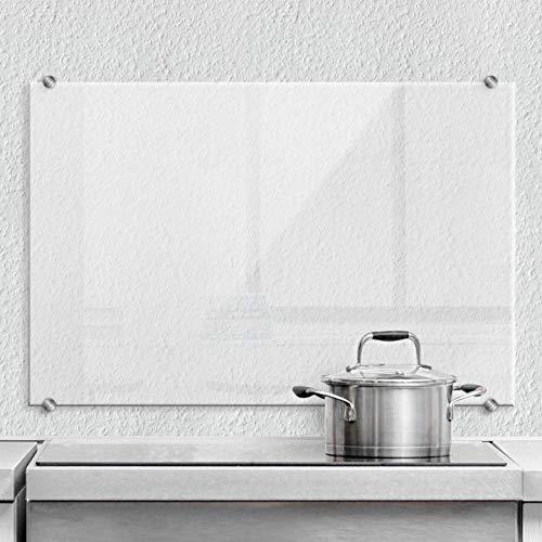 Pfannen Spritzschutz transparent Glasbild Küche Küchenrückwand Glas Sicherheitsglas Wanddeko mit Klemmbefestigung Edelstahl 60x40 cm