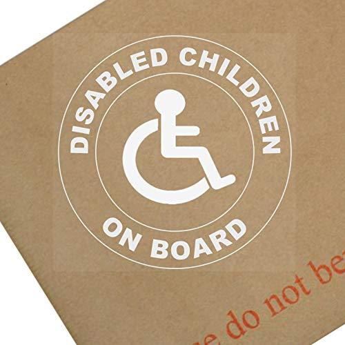 1x gehandicapte kinderen aan boord-rond-wit op Clear-Window Sticker-Sign, auto, badge, waarschuwing, rolstoel, bestuurder, kind, handicaps, rolstoel, toegang, ik, Am, persoon, logo, uitgeschakeld, Blauw, Badge, houder