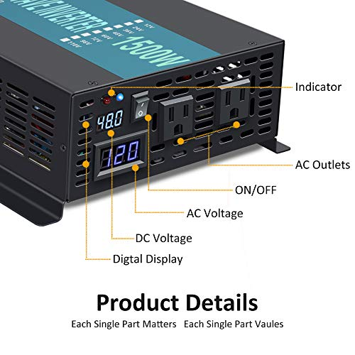 WZRELB Reliable 1500W Full Power High Frequency Pure Sine Wave Solar Power Inverter Off Grid 48VDC to 120VAC Voltage Converter Home Solar Generator(Black)