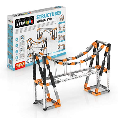 Engino Discovering STEM Structures Constructions & Bridges | 9 Working Models | Illustrated Instruction Manual | Theory & Facts | Experimental Activities | STEM Construction Kit, Blue
