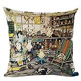 1個 クラシック 絵画と書道 ネコ 枕カバー クリスマスの飾り 印刷 亜麻 ピロークッションカバー ピローケース(ピローコアは含まれていません)