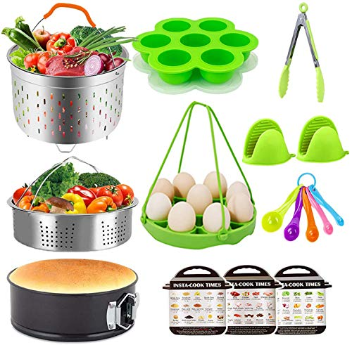 12 PCS Accessories Set for Instant Pot, Include Steamer Basket, Springform Pan, Egg Bites Mold, Oven Mitts and More, Fits 6,8Qt Pressure Cooker Accessories (12 pcs)