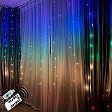 Cortina de luces led cadena de Luces de colores hadas luz decoraciones del dormitorio habitacion decoración de la pared navidad fiesta de bodas telón de fondo arco iris unicornio decorativa (2 X1.5)
