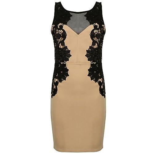 9f364fb117 Ex Lipsy Beige Black Mesh Lace Floral Bodycon Mini Dress Size 6 8 10 12 14