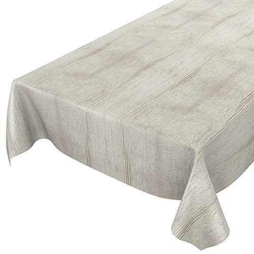 Anro - Mantel de hule lavable, para mesa, 95% PVC, 5% poliéster., Madera gris., 100 x 140cm Schnittkante