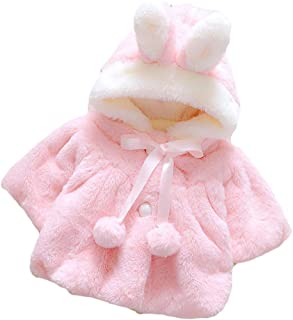 Baby Girl Winter Coat Warm Fleece Cloak Jacket 3D Rabbit Hooded Outerwear