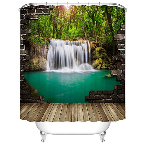 Fangkun 3D Shower Curtain Waterfall Wall Landscape Art Painting Curtains - Waterproof Polyester Fabric Bath Curtains Set - 12pcs Shower Hooks - 72 x 72 inches