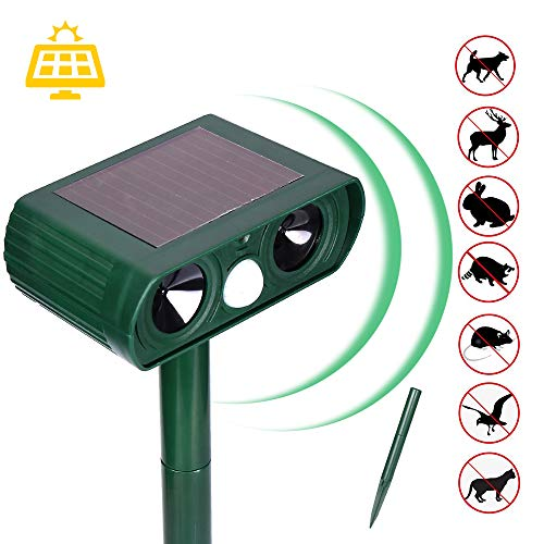 Mgrett Ultrasonic Animal Repeller,Waterproof Ultrasound, Animal Repeller Solar Battery Operated, ltrasonic Animal Repeller Solar Battery Operated Rabbit Rat Scarer Repellent for Gardens