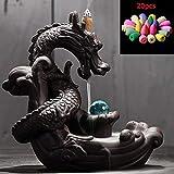 JOYOTER Cerámica Humo Reflujo Creativo Ornamento Incienso Titular Incensario Zen Dragon Quemadores de Incienso con Bola de Cristal